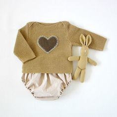 A knitted sweater with diaper cover in camel with a by tenderblue, via Etsy.