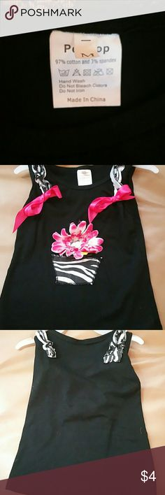 Girls tank top Black with pink flower and ribbons pettitop Tops Tank Tops
