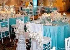 Aqua tablecloths with white napkins