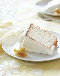"Lemony Angel Food Cake: Remember Mom's heavenly angel food cake? Ours has the same ethereal texture but with a bright burst of lemon flavor, thanks to fresh juice and zest. Fluffy citrus cream frosting and pretty candied lemon ""daffodils"" make it even more memorable."