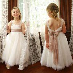 Ivory Lace Tulle A-line Little Girl Dresses,Lovely Flower Girl Dresses, FG009