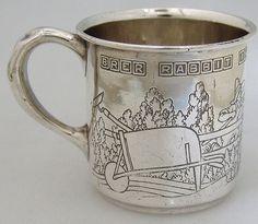 030379fadb8a Sterling Silver Nursery Rhyme Baby Cup 1920 Silver Spoons