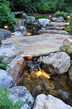 Stone, Bridge, Waterfall Fountain and Garden Pond Greenleaf Services Inc. I think this is awesome and would fit in well with my backyard environment. Backyard Stream, Backyard Water Feature, Ponds Backyard, Backyard Waterfalls, Garden Ponds, Koi Ponds, Garden Stream, Stone Backyard, Stream Bed