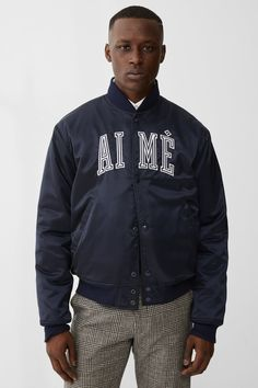 Created in Aimé Leon Dore is a fashion and lifestyle brand based out of New York City. Blue Bomber Jacket, Fall Winter 2017, Aime Leon Dore, Fashion Essentials, Viera, Knit Beanie, Street Wear, Menswear, Mens Fashion