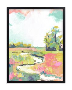"""""""Kiawah"""" - Art Print by Makewells in beautiful frame options and a variety of sizes. Art And Illustration, Painting Inspiration, Art Inspo, Gouache, Kunst Inspo, Landscape Artwork, Wall Art Designs, Abstract Watercolor, Art Pictures"""