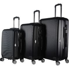 Brio Luggage Hardside Spinner Luggage Set ($136) ❤ liked on Polyvore featuring bags, luggage and black