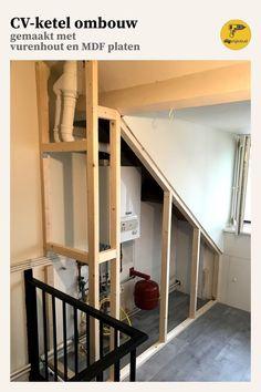 Ombouwkast voor je cv ketel – Home Dekor Attic Renovation, Attic Remodel, Attic Spaces, Attic Rooms, Dispositions Chambre, Attic Bathroom, Dyi Bathroom, Bedroom Layouts, Home Remodeling
