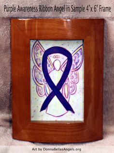 Purple Awareness Ribbon Pancreatic Cancer and Leiomyosarcoma Guardian Angel Art Postcards (10 Pack)