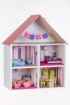 Dřevěný domeček pro panenky klasický bíločervený