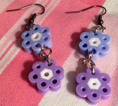 Perler beads Flower Dangle Earrings  by OtakuBeads