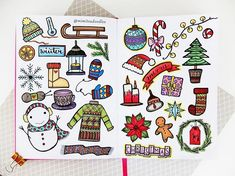 """259 Likes, 12 Comments - Miya (@mimitsu.de) on Instagram: """"I like the whole double page of my winter/Christmas doodles 😁🎄🎅🌌✨💟💞🎄 . . . . #bulletjournal…"""""""