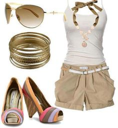 Love the shoes with the tan shorts and white cami.