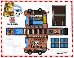 Paper Toys | Paper Toy papertoys Paper Taco Trucks Pirate template preview Paper ...