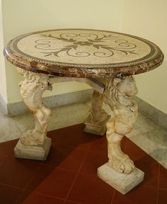 Marble And Mosaic Table From Pompeii (79 AD)   Naples Archaeological Museum