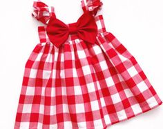 Big Bow Dress, Girls Spring Summer Dress, Linen Blend Toddler A-Line Tent Shift, Flower Girl, Special Occasion DressRed/White Gingham Big Bow Dress by on EtsyWhat happens when Levy messes up one of her spells and Lucy is turned…Cet article n& pas d Baby Frocks Party Wear, Baby Girl Frocks, Frocks For Girls, Toddler Girl Dresses, Little Girl Dresses, Girls Dresses, Net Dresses, Peasant Dresses, Girl Toddler