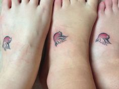 Three sisters. Matching robin tattoos in memory of our nan. 'Lil' written in the wing x