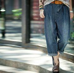 Casual Loose Fitting Linen Turnip pants jeans - blue - Women pants - women trousers - M-XXXL(125) 44,9€