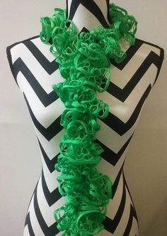 Crocheted Green Ruffle Scarf. Scarves and Wraps. by DuvallsDesigns