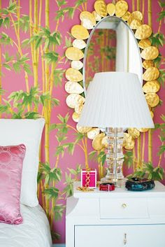 Love the mirror, pink and lacquer ~Melissa Hawks www.wellappointedhouse.com