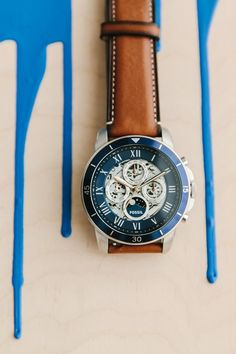 A blue take on our favorite Grant Mechanical silver watch with brown leather straps.
