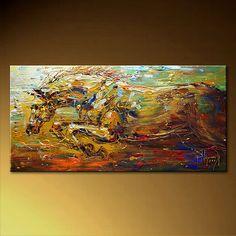 Stallion Original 48 x 24 Impressionist Palette Knife von Artcoast