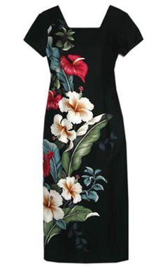 Sweetheart Black Hawaiian Dress