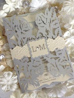 Rose Laser Cut Wedding Invitation by InvitationsByLindsay on Etsy