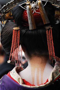Oiran parade, Japan traditional ornamental hair style