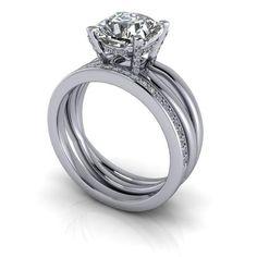 Bridal Set Split Shank Cushion Cut Engagement Ring Forever One™ Moissa