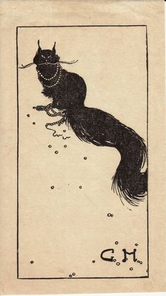 Bookplate: Black cat wearing a broken string of pearls. Artist unknown.