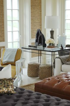 Color/ texture - yellow chair = accent wall paint color inspiration, orange leather = conference table chairs etc.