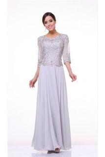 Dlouhé stříbrné šaty na svatbu