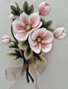 Wonderful Ribbon Embroidery Flowers by Hand Ideas. Enchanting Ribbon Embroidery Flowers by Hand Ideas. Simple Embroidery, Paper Embroidery, Learn Embroidery, Silk Ribbon Embroidery, Embroidery For Beginners, Crewel Embroidery, Hand Embroidery Patterns, Embroidery Techniques, Embroidery Kits