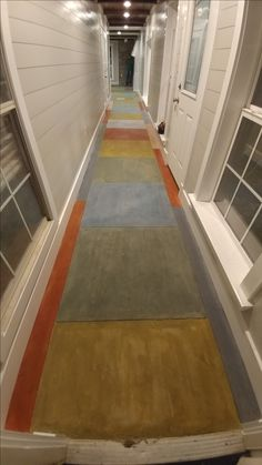 stained concrete with five different colors, mixed and matched