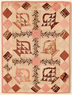 "Baskets Doll Quilt: Circa 1890 13"" x 17 1/4"", Stella Rubin"