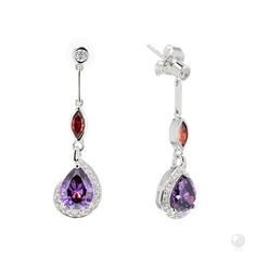 """FERI - All That Jazz - Earrings - Exclusive FERI 950 Siledium silver - Exclusive dual natural rhodium and palladium plating - Set with exclusive FERI Swan cut lab stones - Colour: white, red and amethyst - Dimension: 35mm (1.38"""")  Invest with confidence in FERI Designer Lines.   Claim your Free $100 Gift check http://www.gwtcorp.com/ghem or  email  fashionforghem.com for big discount"""