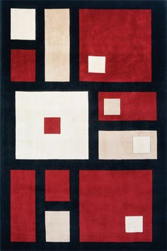 Square rug design for your modern home Red, black, white and pink squares on this contemporary rug.