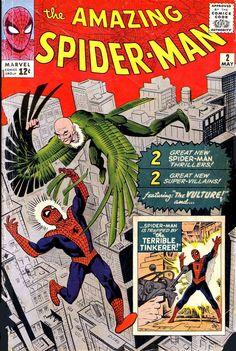 """Обложка к комиксу """"The Amazing Spider-Man"""" выпуск 2 (1963)    Человек-Паук и первая встреча с крылатым противником - Стервятником.  #amazingspiderman #spiderman #asm #comiccovers"""