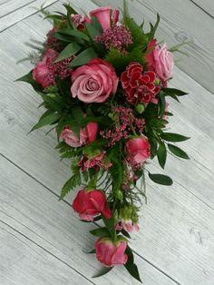 Bruidsboeket, roze/rood www.flamingobloemen.nl
