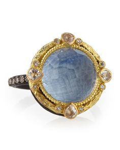 Round+Kyanite+Midnight+Ring+with+Diamonds+by+Armenta+at+Neiman+Marcus.