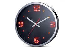 OROLOGIO MURO LED NUMERI. Orologio da muro con bordo cromato-sfondo nero e luci led rosse-funzionamento a corrente