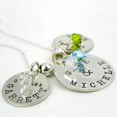 Three Disc Family Necklace - hand stamped and personalized with Swarovski crystals
