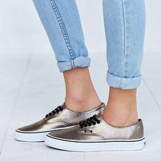Vans Bronze Authentic Sneakers •Metallic Vans lace-up sneakers.  •Women's 6.5. True to size.  •New in box. NO TRADES/PAYPAL. Vans Shoes Sneakers