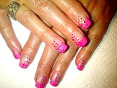 Pink Tip, build with acrylic. Gel polish (ProGel) design on top. Acrylic Gel, How To Do Nails, Gel Polish, Pink, Top, Design, Gel Nail Varnish, Pink Hair, Design Comics