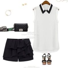 NWOT White chiffon top with collar blouse Listing is for blouse only. Collared top black and white. Tops Blouses