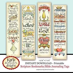 Karla Dornacher-- Bible Journaling Tags I just downloaded, printed and added them to my Bible- wonderful