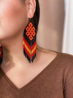 The largest fringe earrings in my collection! These exclusive eternal knot ornament fringe earrings were made as a custom order by author design. Large fringe earrings in Native American style with a Buddhist symbol ornament cant be unnoticed! Korean 14K gold plated hooks are suitable for sensitive Prom Earrings, Fringe Earrings, Beaded Earrings, Statement Earrings, Etsy Earrings, Beaded Jewelry, Crochet Earrings, Yellow Ornaments, Brick Stitch Earrings