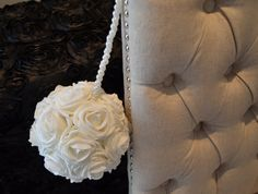 WHITE kissing ball with PEARL HANDLE Wedding Decor by KimeeKouture