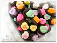 Chocolate conversation hearts at a Valentine's Party #valentine #partytreats