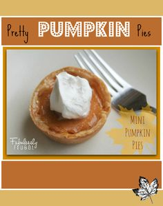 I LOVE classic pumpkin pie! Here's a super cute mini version, perfect for individual snacks, appetizers or dessert! You can make them in a regular or mini sized muffin tin, and if you're feeling really fancy you can decorate the crust edges too!